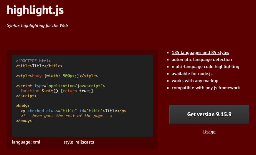 Подсветка кода с помошью скрипта highlight.js