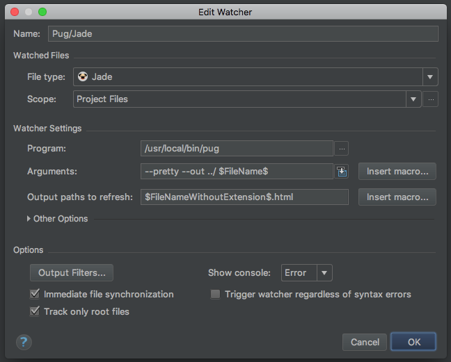 PhpStorm pug/jade Watchers