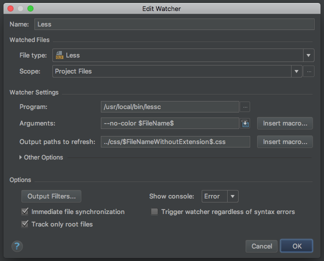 PhpStorm Less Watchers